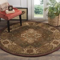 Safavieh Heritage Collection HG917A Handcrafted Traditional Oriental Rust and Ivory Wool Round Area Rug (6 Diameter)