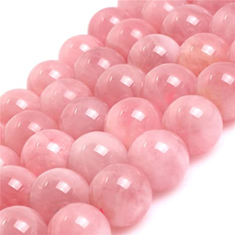LOVELY ROSE QUARTZ GEMSTONE ROUND LOOSE BEADS 8/""