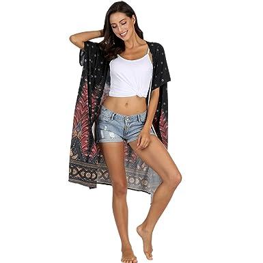 DEELIN Mujeres Impresión Manga Corta Protector Solar Encubrimiento Bikini Traje De BañO Sheer Beach BañAdor Abrigo Kimono Cardigan: Amazon.es: Ropa y ...
