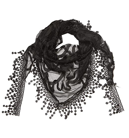 598283853620d Cindy and Wendy Lightweight Triangle Floral Fashion Lace Fringe Scarf Wrap  for Women (Black)