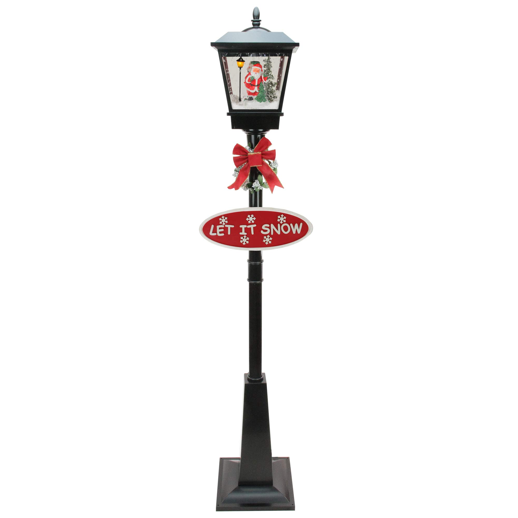 Northlight 70.75'' Lighted Black Musical Santa Vertical Snowing Christmas Street Lamp