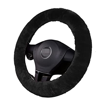 Plush Fluffy Steering Wheel Sets Soft East Warm Plush Vehicle Car Steering Wheel Covers (Black