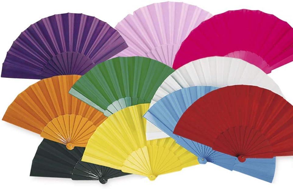 Lote 24 Abanicos de plástico con tela colores surtidos. Abanicos para eventos, detalles para los invitados, boda, comunión o bautizo.