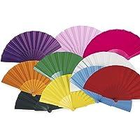 Lote 24 Abanicos de plástico con tela colores