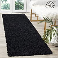 Safavieh Athens Shag Collection SGAS119K Black Runner (23 x 8)