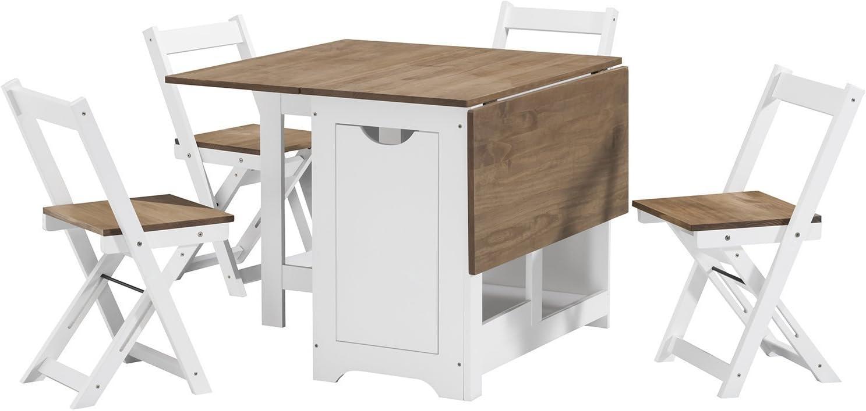 Juego de comedor con mesa de mariposa con 4 sillas plegables (pino ...
