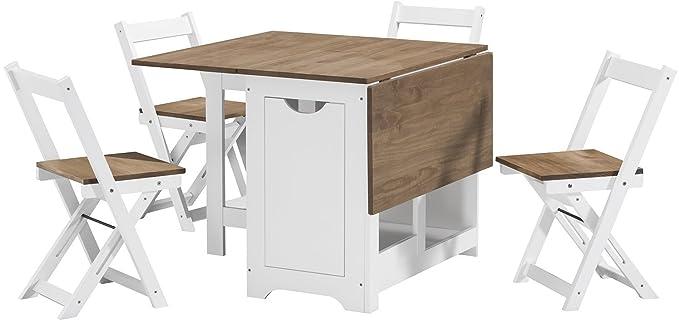 Juego de comedor con mesa de mariposa con 4 sillas plegables ...