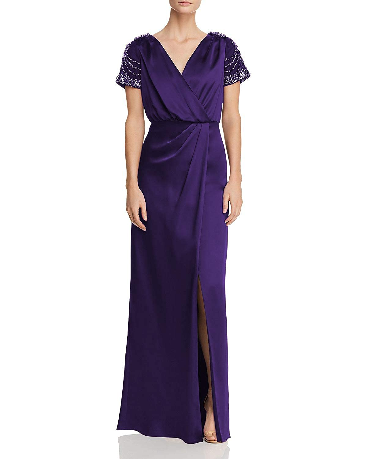 Dark Purple Wanshaqin Women's Sheer Embellished Caps VNeck Evening Gown for Wedding Party Occasions