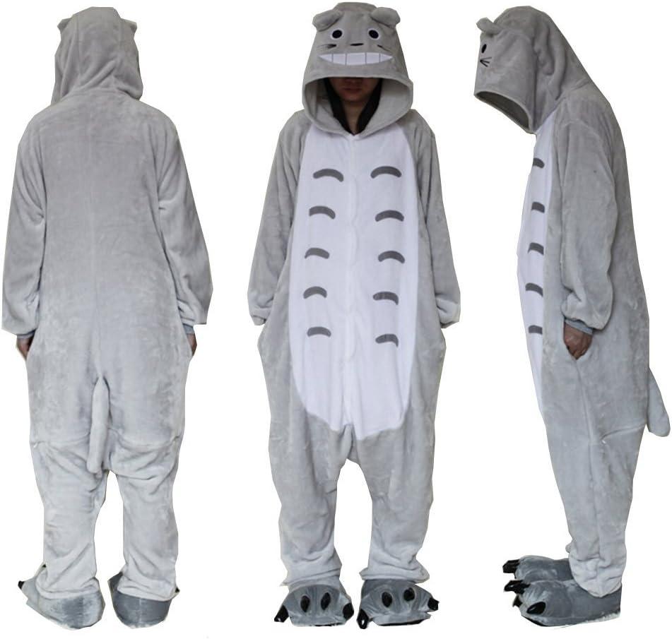 Mono de forro polar, unisex, para disfraz, Cosplay o pijama, adecuado para exteriores, con capucha, diseño de Totoro Azul azul small