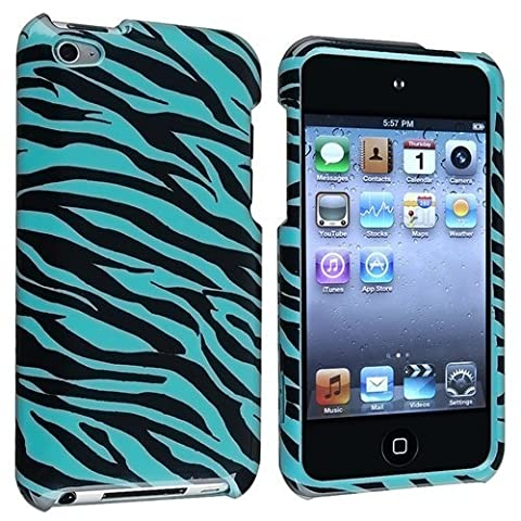 Snap-On Protector Hard Cover Case for iPod Touch 4th Generation / 4th Gen - Zebra Blue (Ipod 4th Gen Case Blue)