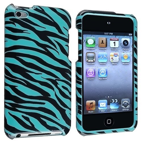 Snap-On Protector Hard Cover Case for iPod Touch 4th Generation / 4th Gen - Zebra Blue