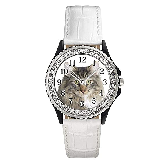 Cuero Con Timest Noruego Del Bosque Reloj Para Gato Mujer EW9eH2IYDb
