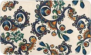 CUXWEOT Indoor Outdoor Doormat Non-Slip Backing Ultra Absorbent Mud Boho Tribal Paisley Door Mat Home Office Decorative Entry Rug Garden Kitchen Mats 23.6 x15.7 Inch