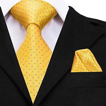 WOXHY Corbata de los Hombres Corbata Corbata de Seda Dorada Nuevo ...