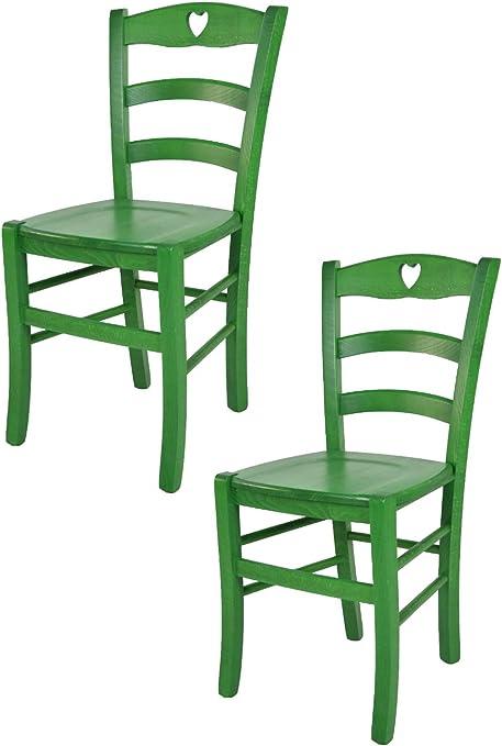 tmcs Tommychairs Set 2 Sedie Classiche Cuore per Cucina, Bar e Sala da Pranzo, Robusta Struttura in Legno Color anilina Verde e Seduta in Legno
