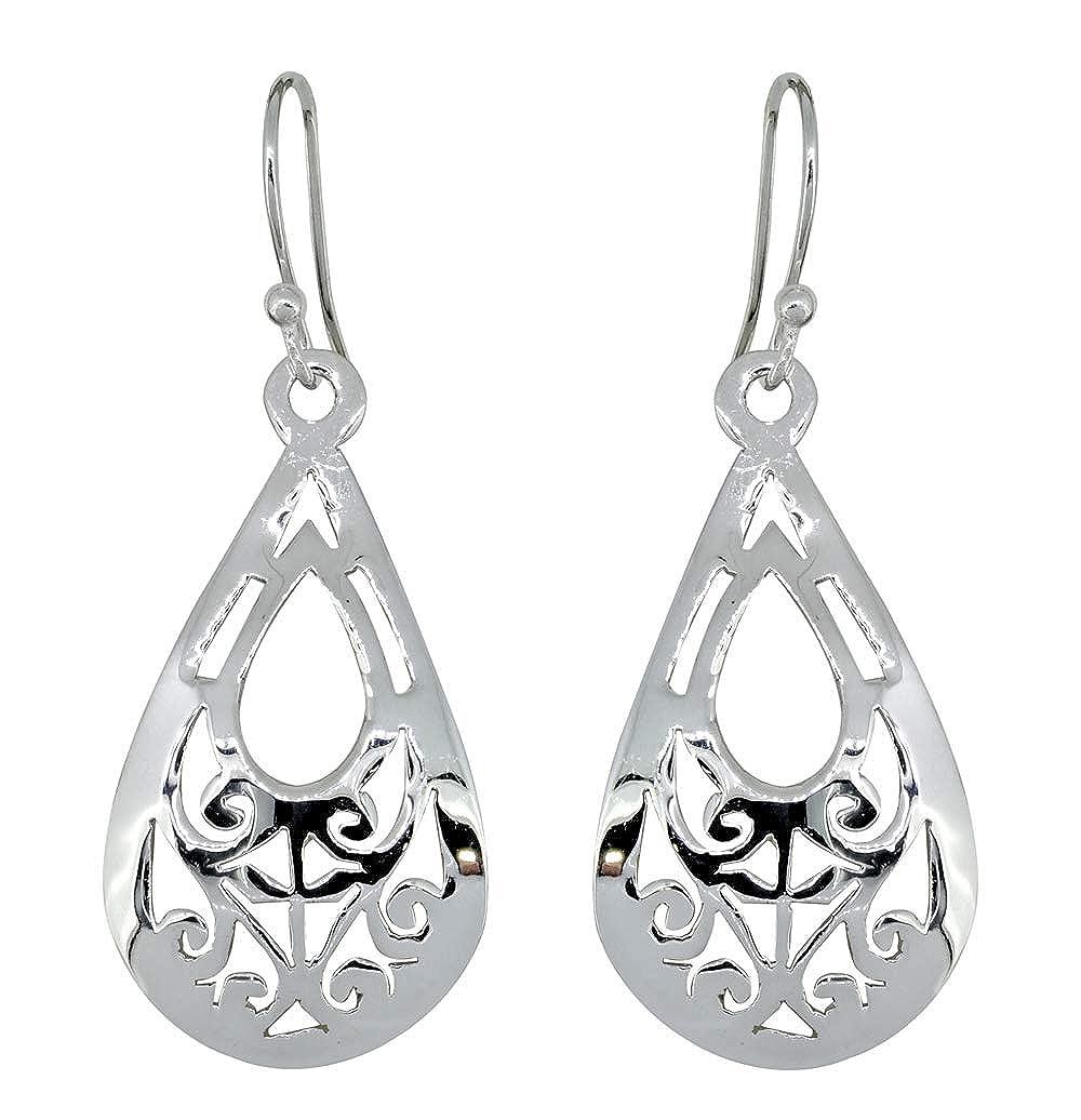 YoTreasure 2 Long Solid 925 Sterling Silver Filigree Earwire Hook Dangle Earrings