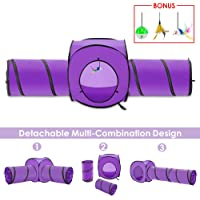 SlowTon Cat Tunnel Set, Detachable Cat Cube and Pet Tube with Cat Ball Mouse Feather Toy, Collapsible Crinkly Interactive Cat Toy Cat Play for Kitten Rabbits and Small Dogs Exercise Widely Use