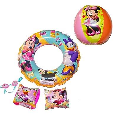 What Kids Want Disney Jr. Minnie Bowtique Super 5Piece Swim Set Goggles & Inflatable Swim Set: Toys & Games