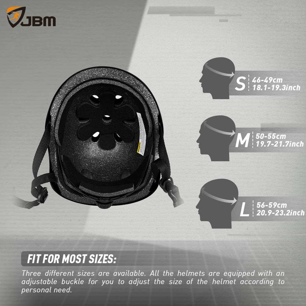 JBM Helmet for Multi-Sports Bike Cycling, Skateboarding, Scooter, BMX Biking, Two Wheel Electric Board and Other Sports [Impact Resistance] (Black, Adult) by JBM international (Image #6)