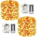 LightsEtc 2 Pack 100 Led String Lights Fariy Lights Battery Operated Waterproof Fairy String Lights with Remote Control Timer 8 Modes 33ft Copper Wire Christmas Lights Christmas Decor Warm White
