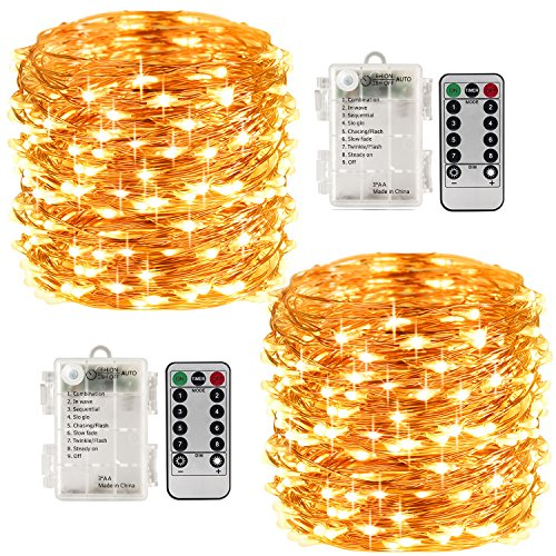 LightsEtc 8 Modes 2 Pack 33 Feet 100 Led Fairy String Lights with Battery Remote Timer Control Operated Waterproof Copper Wire Twinkle Lights for Room Wedding Garden Party Wall Tree Decoration]()