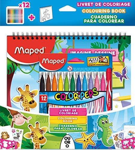 Livro de Colorir e 1 Estojo de Canetas Hidrocor Jungle 12 Cores, Maped 35, Multicor