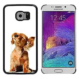 Be Good Phone Accessory // Dura Cáscara cubierta Protectora Caso Carcasa Funda de Protección para Samsung Galaxy S6 EDGE SM-G925 // Golden Retriever White Music Puppy