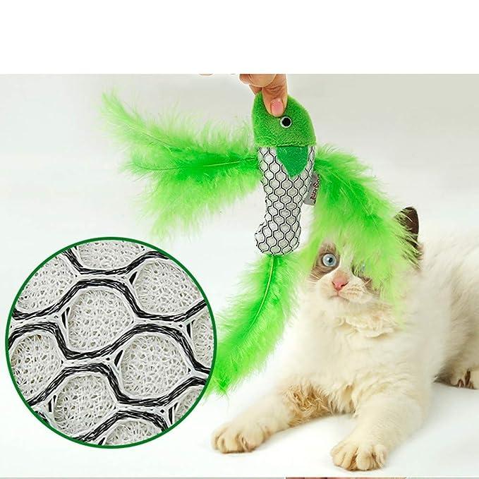 CAOQAO Juguetes interactivos Catnip Toys Cats Fish Shape Pluma ...
