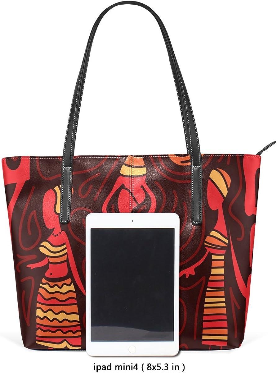 JSTEL Women Tote Top Handle Abstract African Art Shoulder Bags Ladies Fashion Handbag