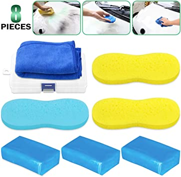 Multi Functional Washing Sponges and Towel Perfect for Car Detailing Clean Including 178g Blue Clay Bars Keadic 8 Pcs Auto Detailing Magic Clay Bar Cleaner Kit Plastic Storage Box