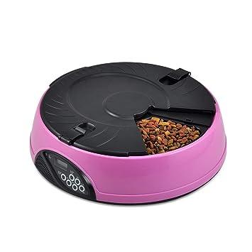 MRXUE Alimentador Automático De Mascotas 6 Comida/Día para Gatos Perros Conejos Bowl con Temporizador Y Grabadora De Voz Fácil De Limpiar,Pink: Amazon.es: ...