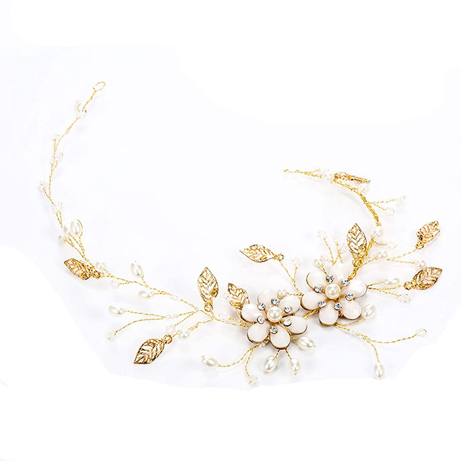 AMDXD Bridal Hair Accessories for Wedding Flower with Leaf Pearl Headband for Women Vintage Gold Plated Headbands Gold