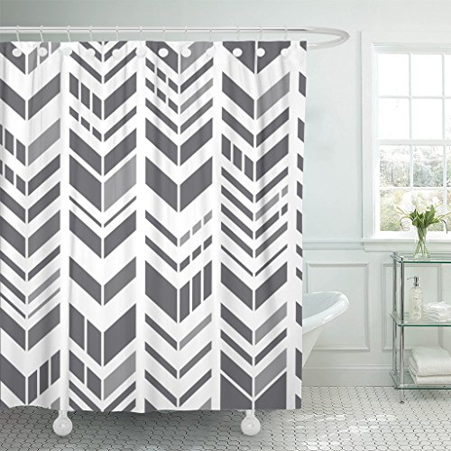 Breezat Shower Curtain Abstract Geometric Zigzag Pattern Gray Chevrons on White Modern Herringbone Waterproof Polyester Fabric 60 x 72 Inches Set with - Blue Mosaic Stripe