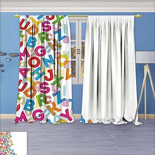 Alphabet Background - Nalahome Design Print Thermal Insulated Blackout Curtain Alphabet Background with Letter Icons Words Literature Textured Fun Print for Living Room 84W x 84L Inch