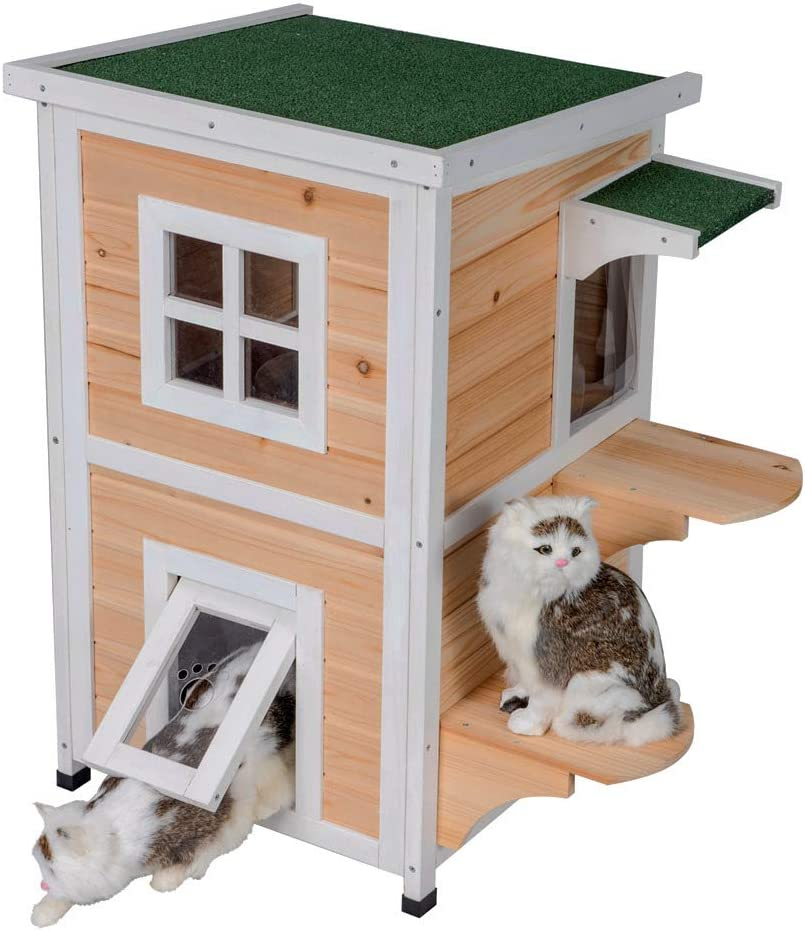 Good Life Weatherproof Outdoor Indoor Two Floors Nature Wood Cat House Pet Home Furniture Cat Shelter Small Pet Condo with Stairs for Small Middle Cats
