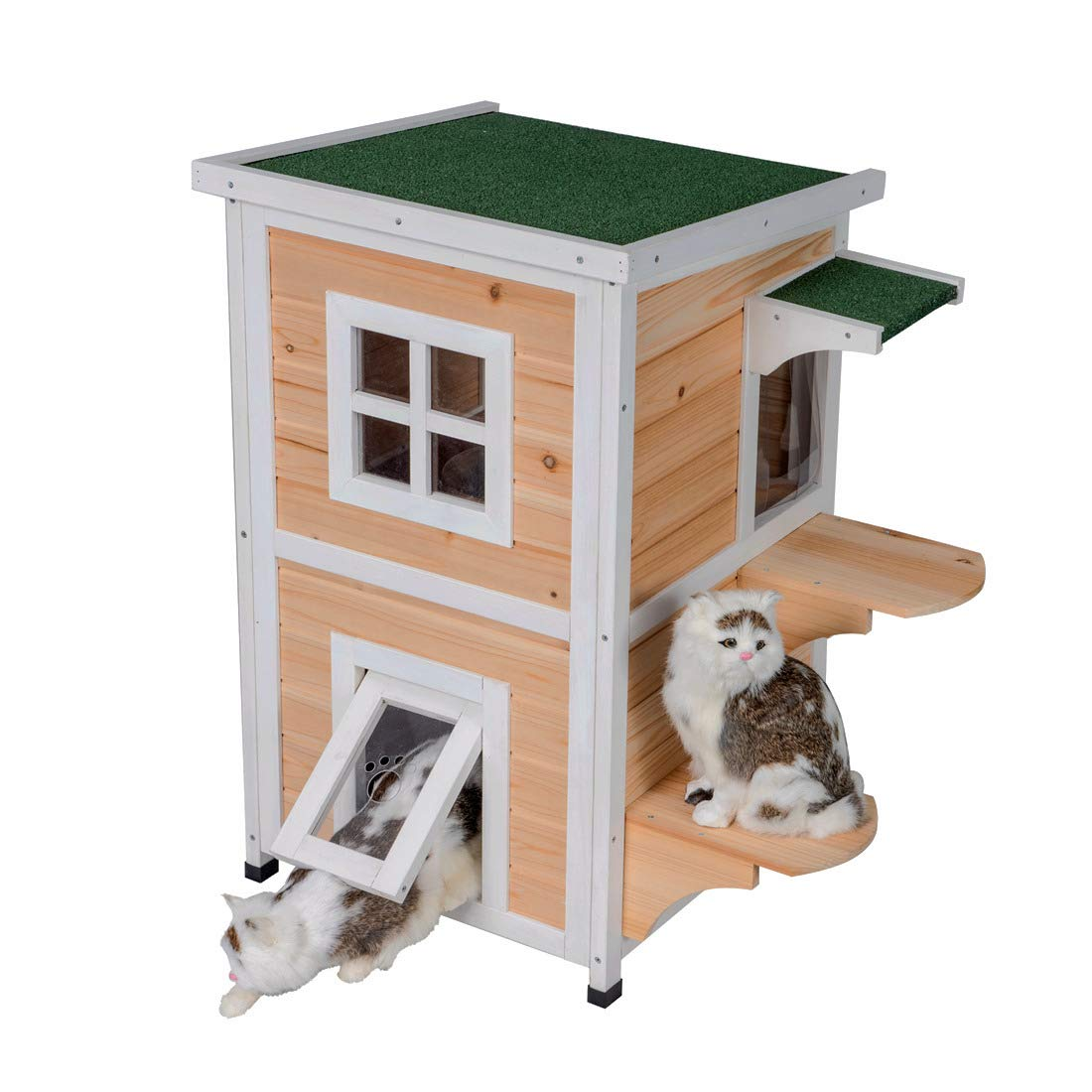 Good Life Weatherproof Outdoor Indoor Two Floors Nature Wood Cat House Pet Home Furniture Cat Shelter Small Pet Condo with Stairs for Small & Middle Cats by GOOD LIFE USA