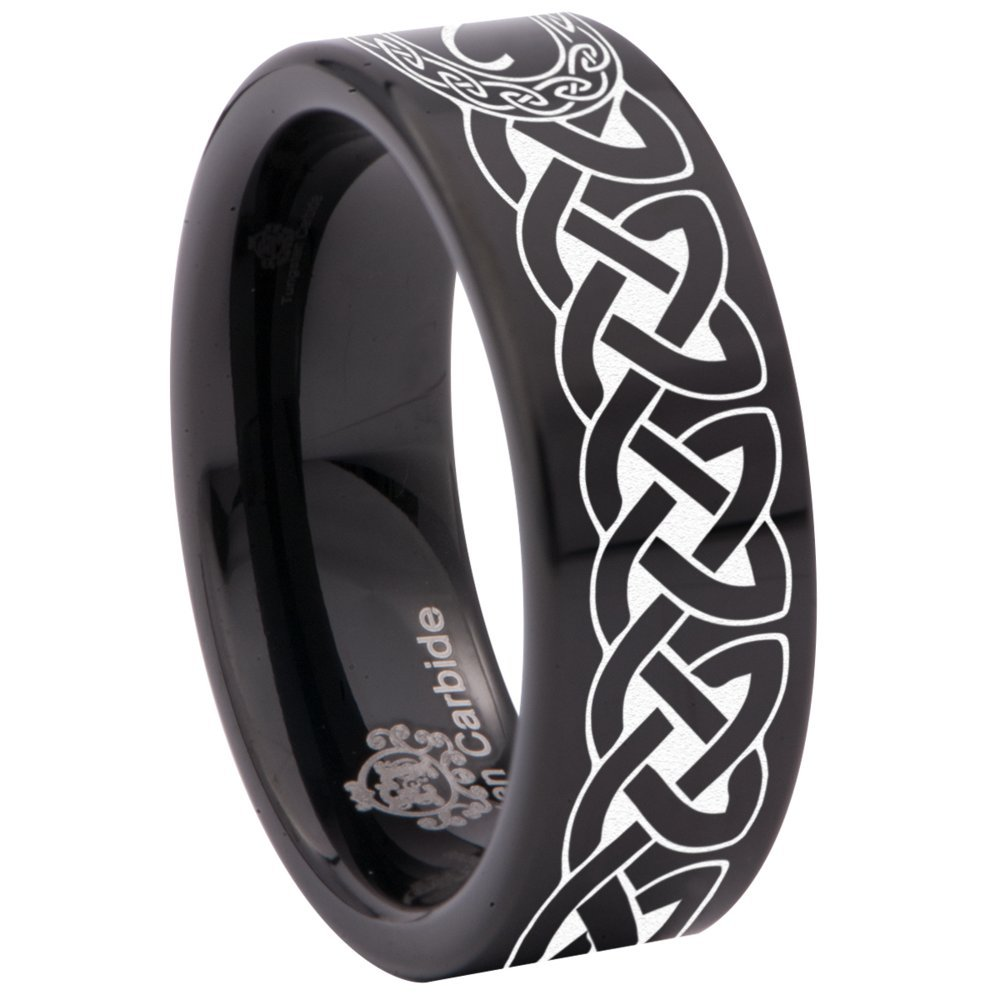Friends of Irony Black Tungsten Carbide Aries Ring 8mm Wedding Band Annversary Ring for Men and Women Size 6.5