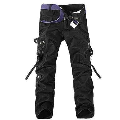 Homme De Noir Aubig Jeans Coton Militaire Travail Cargo Pantalon cARS43L5qj