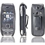 caseroxx – Housse de téléphone portable à clip pour Nokia 3720 en Cuir veritable – Housse de protection à porter à la ceinture (coloris noir avec fenêtre transparente antisalissure)
