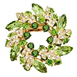 vintage flower pins - JewelryHouse Vintage Fancy Flower Leaf Imitation Crystal Brooches and Pins (Green)