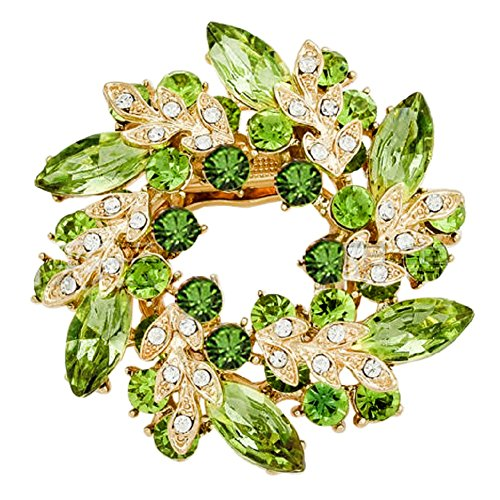 JewelryHouse Vintage Fancy Flower Leaf Imitation Crystal Brooches and Pins (Green) ()