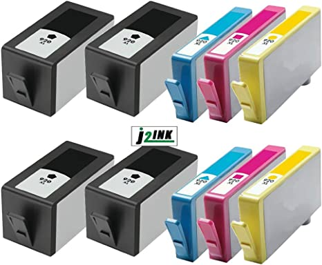 J2INK 10 Pack Remanufactured High Yield Ink Cartridge for HP 920XL with Chip Ink Cartridge Officejet Pro 6500a Plus Wireless 7000