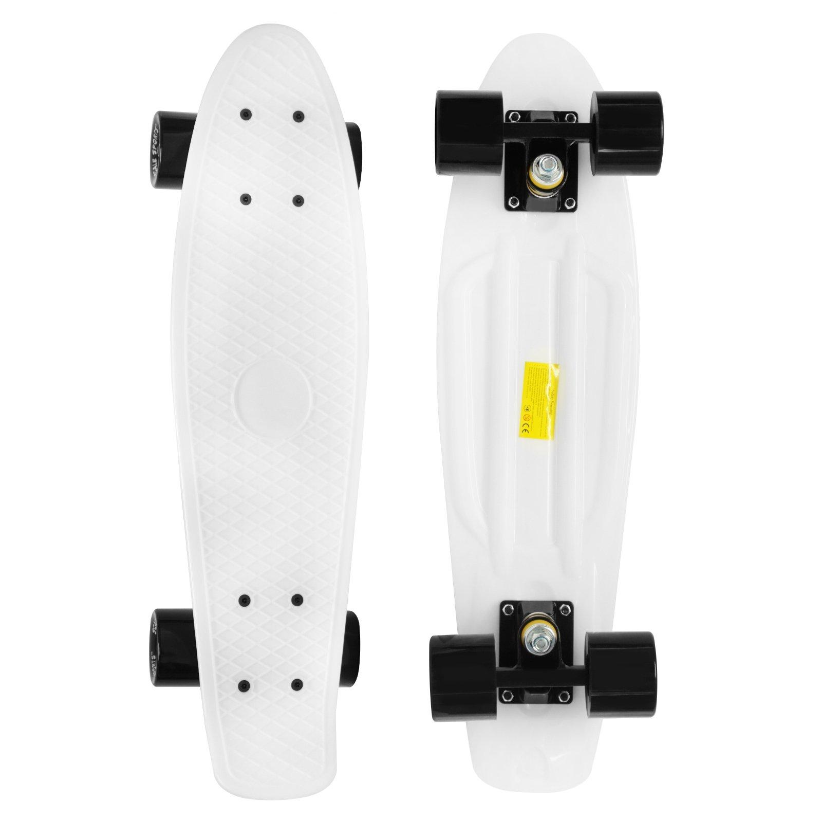 Scale Sports 22'' Skateboard Complete Pastel Street Retro Cruiser Classic Plastic Deck White