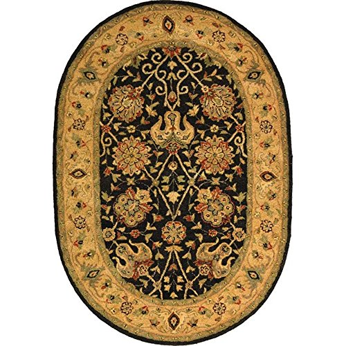 (Safavieh Antiquities Collection AT21B Handmade Traditional Oriental Black Wool Oval Area Rug (7'6