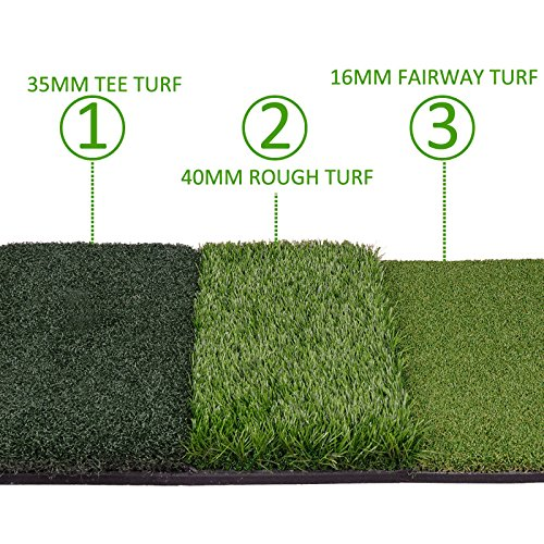 HOMGARDEN Golf Hitting Mat (25'' x 16'') Three Turf Types with Rubber Tee for Driving, Chipping and Putting Golf Practice and Training by HOMGARDEN (Image #1)