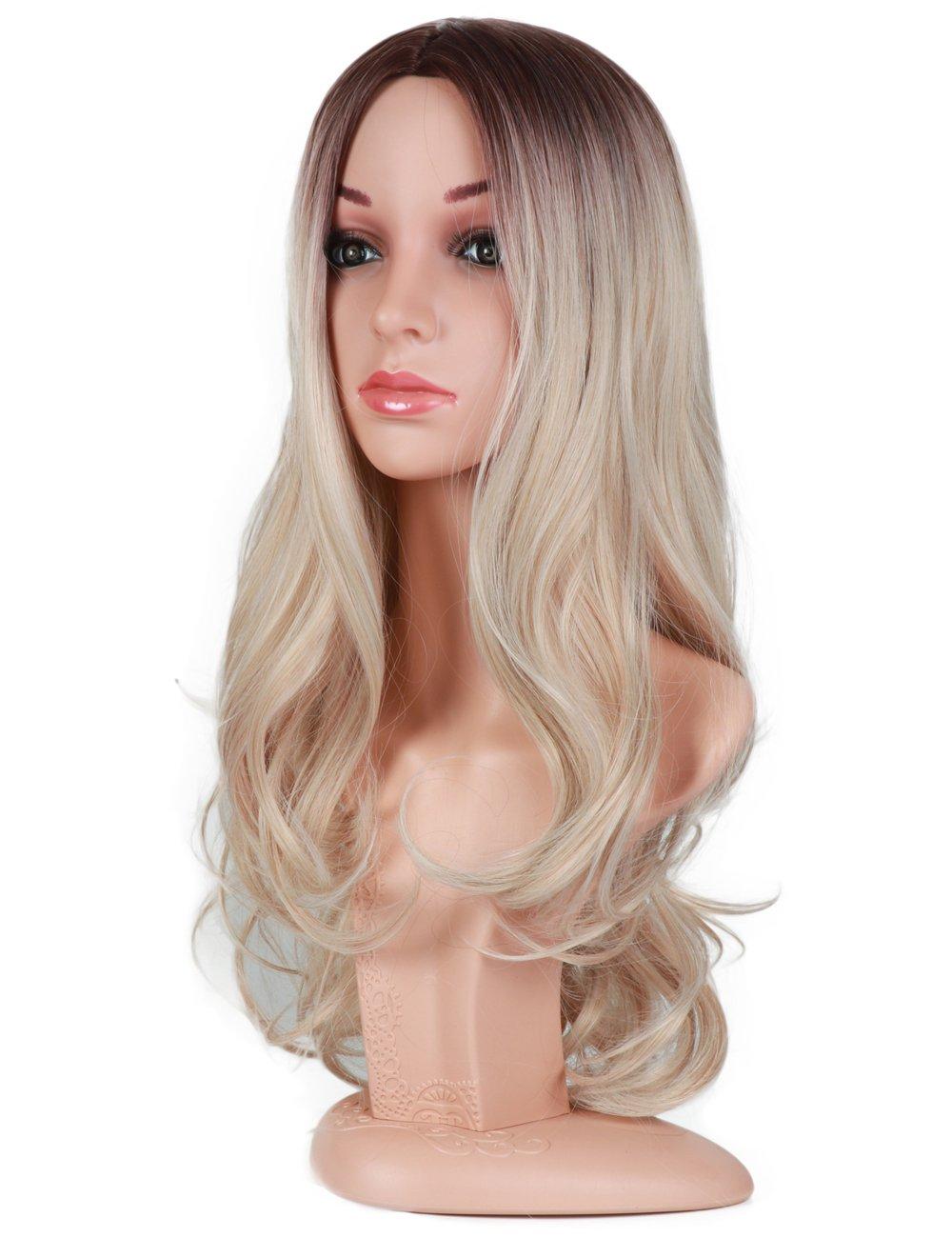 Golden Rule ndulado largo ceniza rubia Ombre pelucas para mujer oscuro marrón raíces onda del cuerpo parte media a prueba de calor sintético completo peluca ...