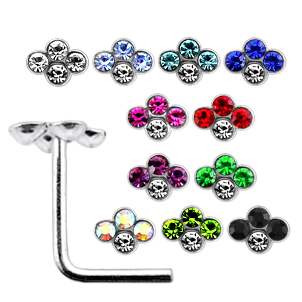 20 Pieces Box Set of Multi Crystal Diamond Shape Top Sterling Silver L Bend Nose Stud Jewelry