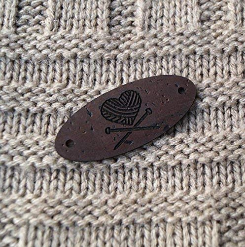 Personalized leather labels for knitted and crocheted items, custom clothing labels, leather labels, cork leather tags, vegan labels, 25 pc