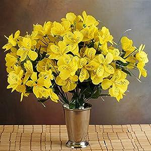 144 Wholesale Artificial Silk Amaryllis Flowers Wedding Vase Centerpiece Decor - Yellow 42