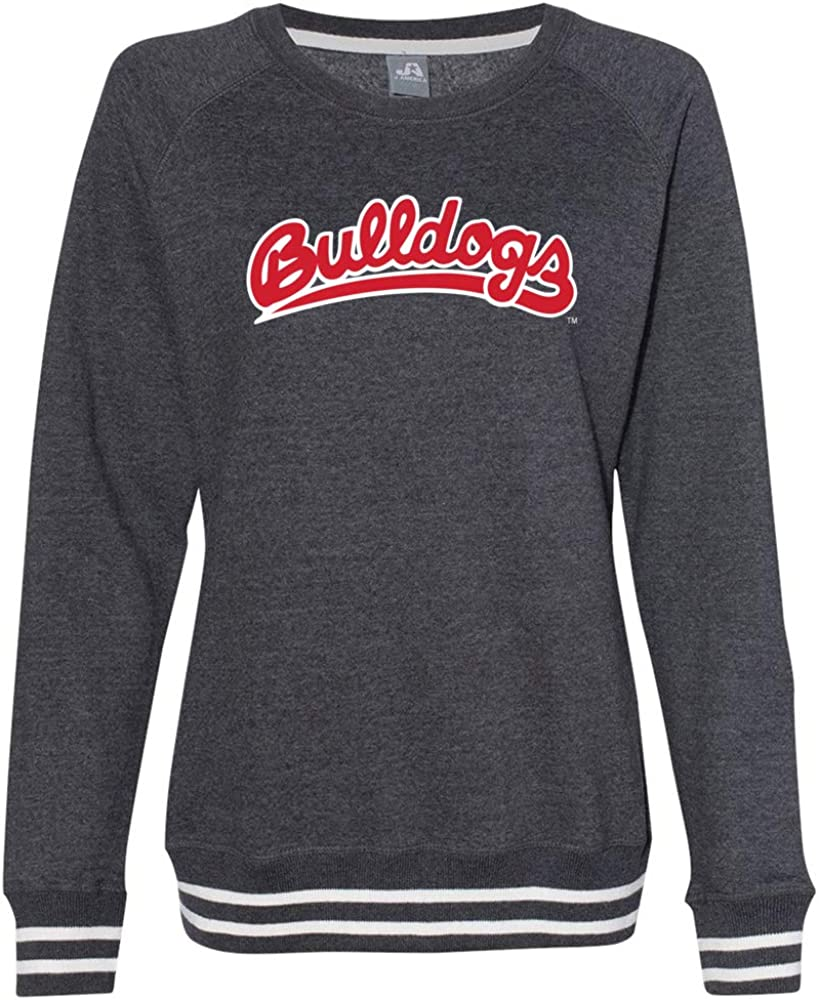 Official NCAA Fresno State Bulldogs FRS13 Women/'s Crewneck Sweatshirt with White Striped Edges